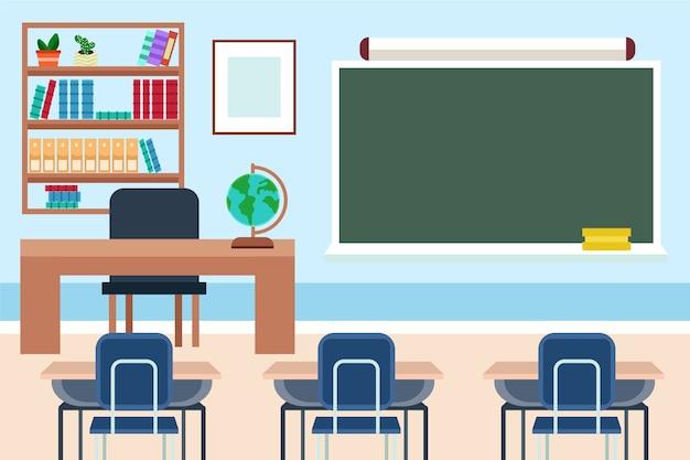 Fundo vazio da classe escolar para videoconferência