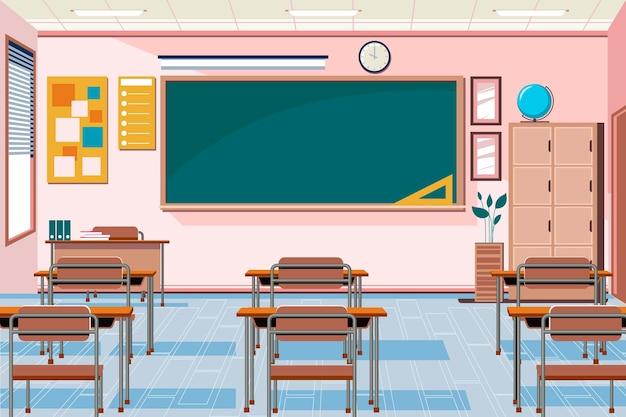 Fundo vazio da classe escolar para videoconferências