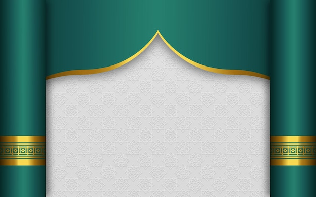 Fundo vazio de banner islâmico árabe com elegante ornamento de ouro
