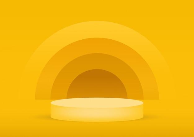 Fundo vazio do amarelo do estúdio do pódio para a exposição do produto com espaço da cópia.