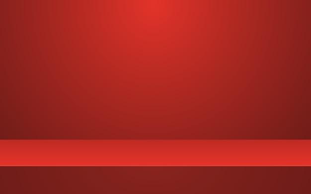 Fundo vazio do estúdio de estágio abstrato vermelho para exposição do produto.
