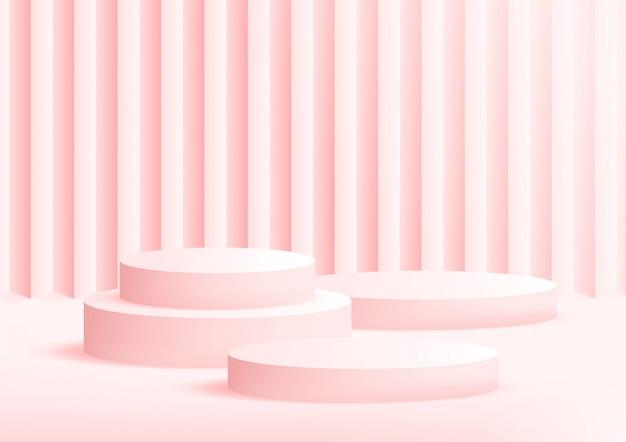 Fundo vazio do rosa do estúdio do pódio para a exposição do produto com espaço da cópia.