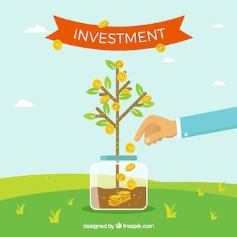 Fundo vegetal crescendo com moedas