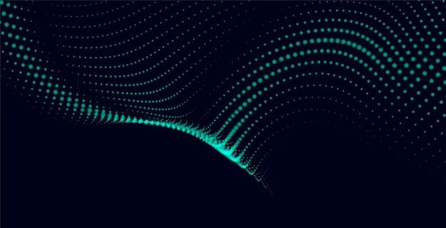 Fundo verde abstrato com ondas de partículas digitais