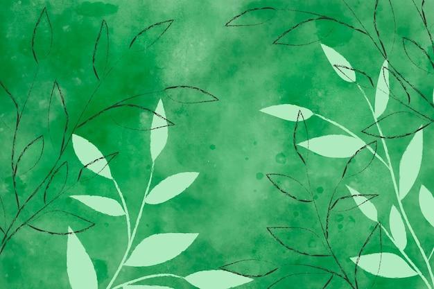 Fundo verde aquarela com folhas