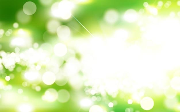 Fundo verde bokeh, cena do parque matinal com forte raio de sol na ilustração 3d