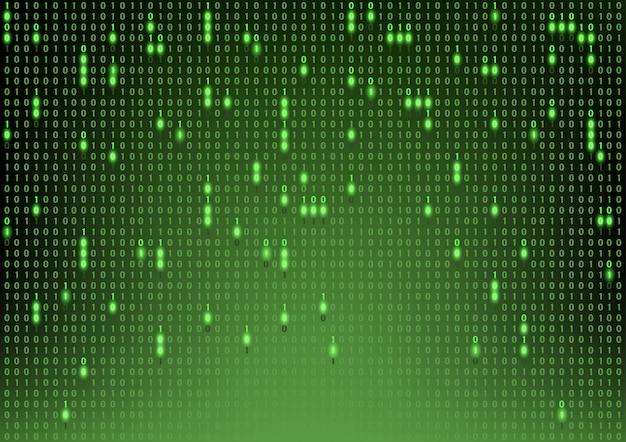 Fundo verde código binário