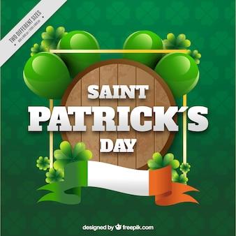 Fundo verde com barril dia de saint patrick