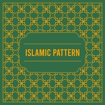 Fundo verde com cartão islâmico de padrão geométrico árabe