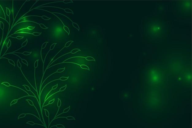 Fundo verde com decoração de folhas florais