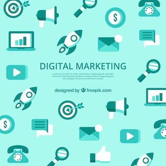 Fundo verde com elementos de marketing