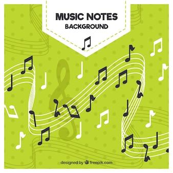 Fundo verde com notas musicais