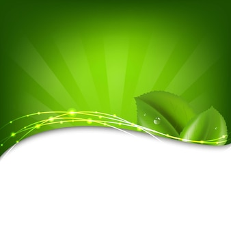 Fundo verde com raios de sol e folha com malha de gradiente