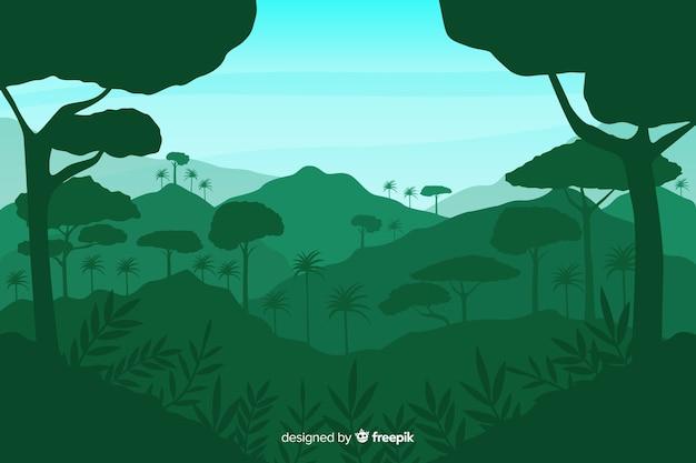 Fundo verde com silhuetas de floresta tropical