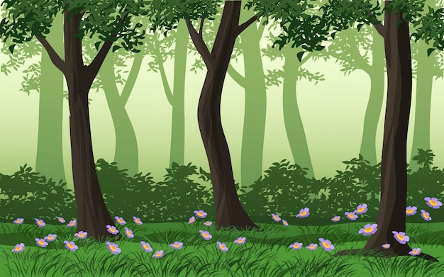 Fundo verde da floresta com grama e flores silvestres