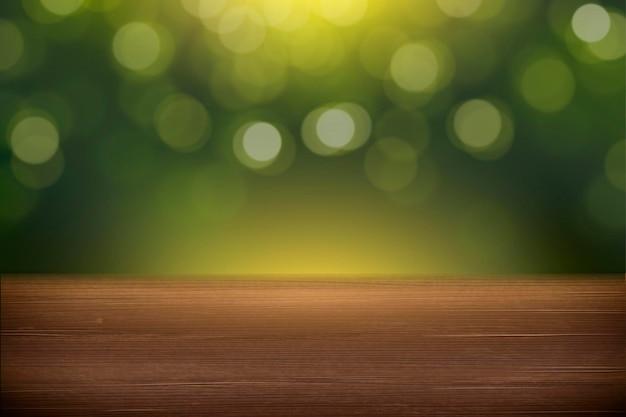 Fundo verde da natureza do bokeh com tampo da mesa de madeira em 3d