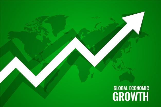 Fundo verde da seta para cima do crescimento da economia global