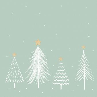 Fundo verde de natal, vetor de doodle de pinheiros estéticos