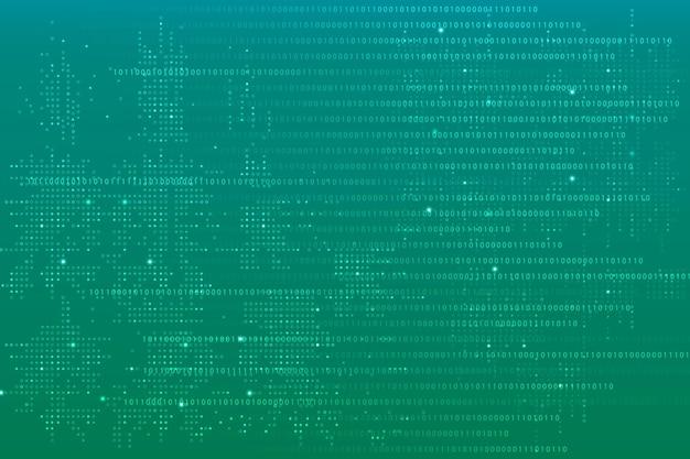 Fundo verde de tecnologia de dados com código binário