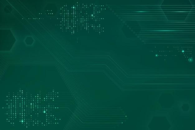 Fundo verde de tecnologia de dados com placa de circuito