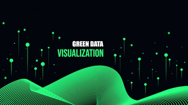 Fundo verde de visualização de dados cibernéticos.