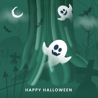 Fundo verde do cemitério com lua crescente, morcegos voadores e fantasmas dos desenhos animados para feliz dia das bruxas.