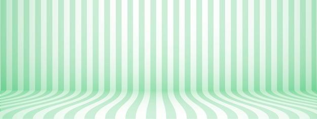 Fundo verde do estúdio com listras, estilo retro horizontal, ilustração.