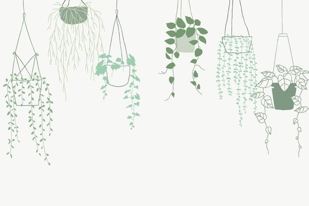 Fundo verde do vetor da planta pendurada em vaso