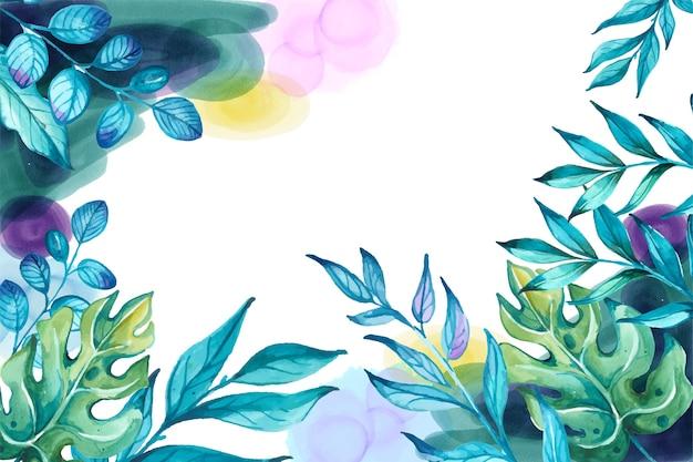 Fundo verde e azul da flor da aquarela