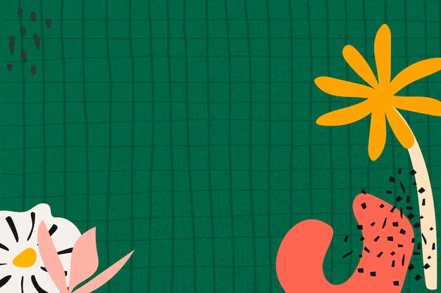 Fundo verde estético, vetor de espaço de design de padrão de grade de flores