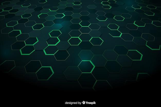 Fundo verde favo de mel tecnológico
