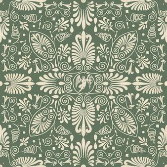 Fundo verde floral sem costura padrão