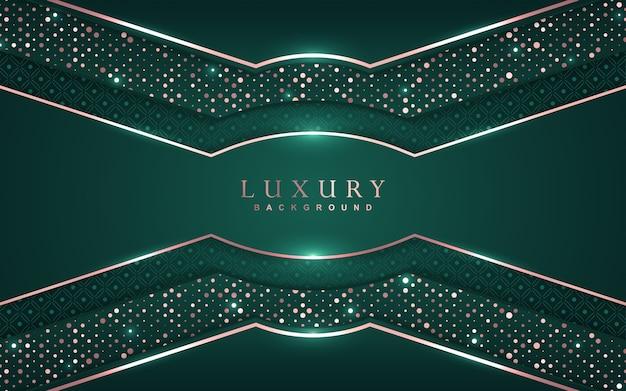 Fundo verde luxuoso com decoração de brilhos dourados