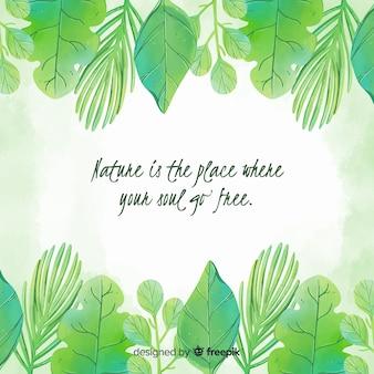 Fundo verde natureza com citação