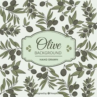 Fundo verde-oliva no estilo desenhado mão