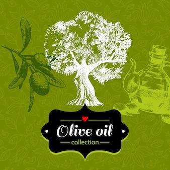 Fundo verde-oliva vintage com ilustração de desenho de mão desenhada e padrão floral. design da embalagem