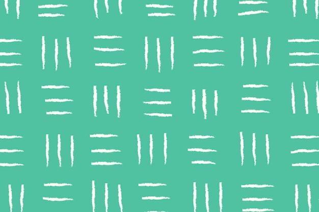 Fundo verde, padrão de doodle alinhado, vetor de design simples