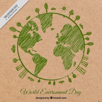 Fundo verde planeta terra esboçado