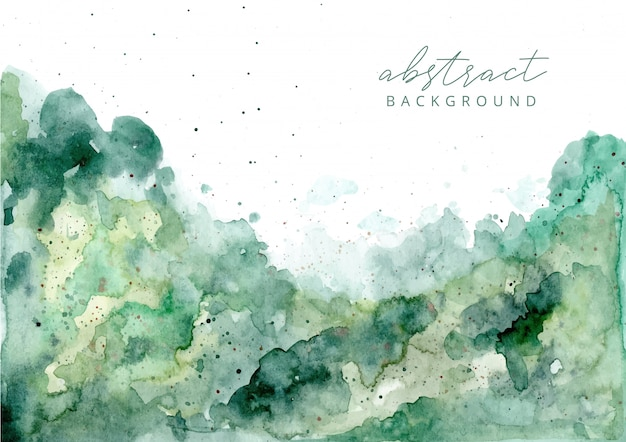 Fundo verde textura aquarela abstrata