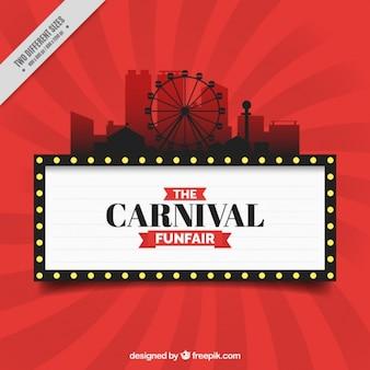 Fundo vermelha do carnaval com a silhueta parque de diversões