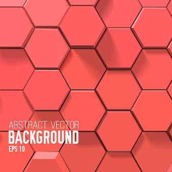 Fundo vermelho abstrato com hexágonos geométricos