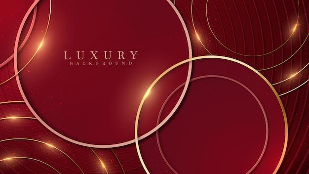 Fundo vermelho abstrato elegante com forma de círculo geométrico e elementos de linha dourados.