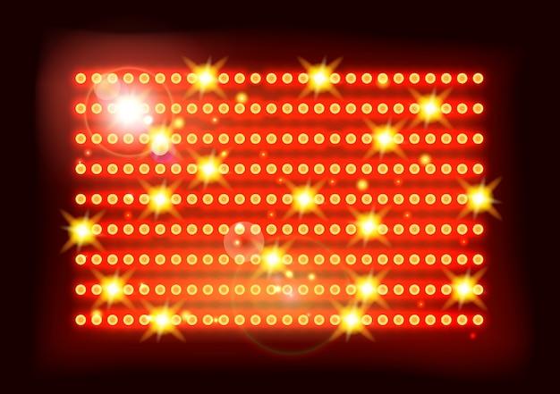 Fundo vermelho amarelo do estádio dos esportes de fase das luzes de piscamento