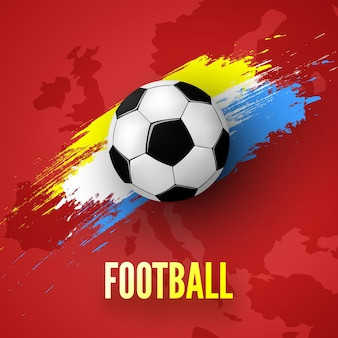 Fundo vermelho com bola de futebol e ilustração colorida do traço de tinta