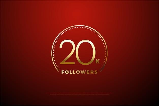 Fundo vermelho com dígitos dourados no glitter dourado para vinte mil seguidores