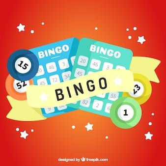 Fundo vermelho com elementos de bingo em design plano