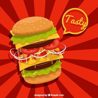 Fundo vermelho com hambúrguer saboroso