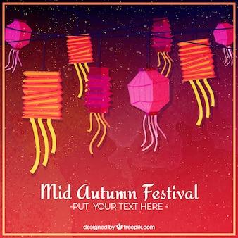 Fundo vermelho com lanternas coloridas, festival de meio outono
