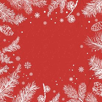 Fundo vermelho com vetor de decoração de inverno
