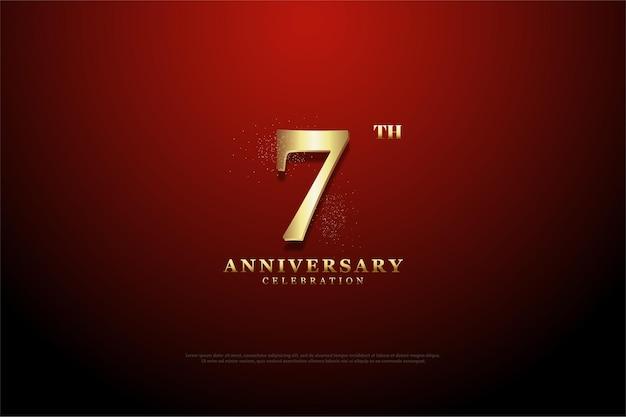 Fundo vermelho com vinheta para o sétimo aniversário com vinheta
